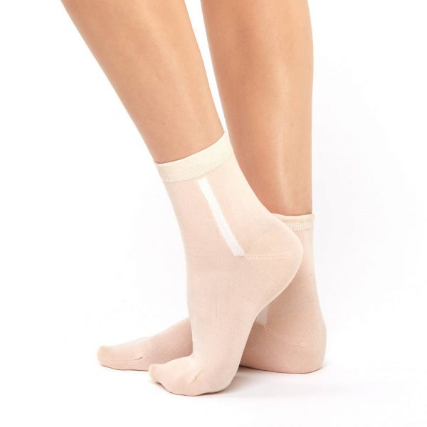 Women's mercerized cotton apricot short socks