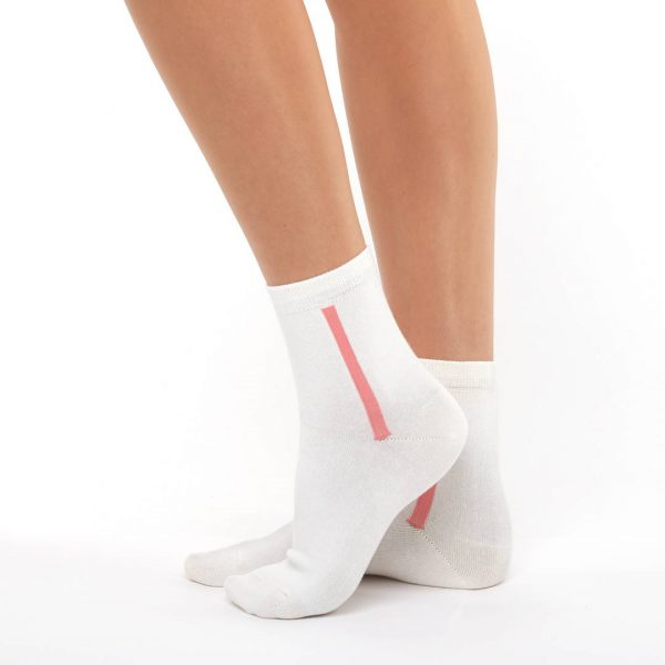 Women's warm cotton socks ivory red line