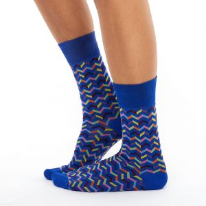 Patterned golf socks blue zigzagprint