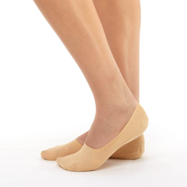 2 pairs invisible socks beige