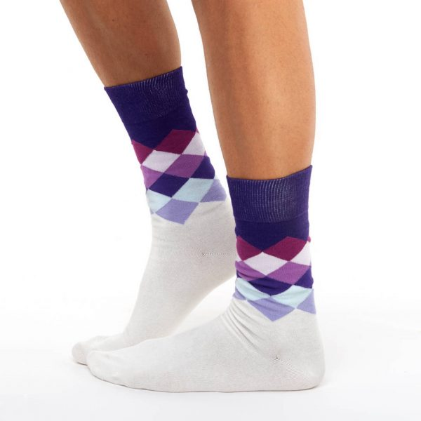 Patterned golf socks velvet rhombs