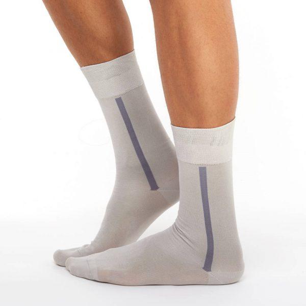 Men's mercerized cotton long socks light grey