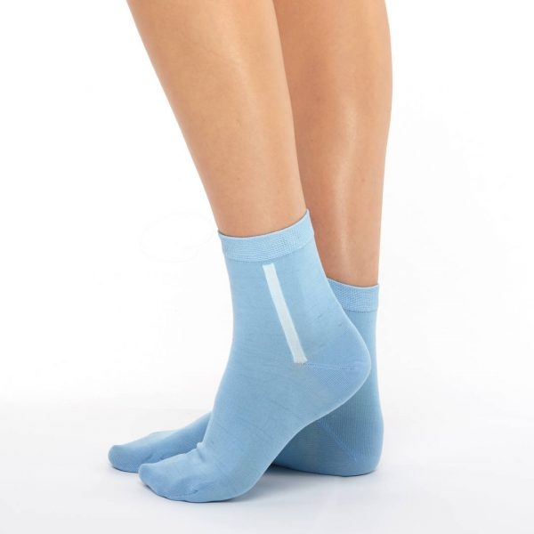 Women's mercerized cotton blue short socks