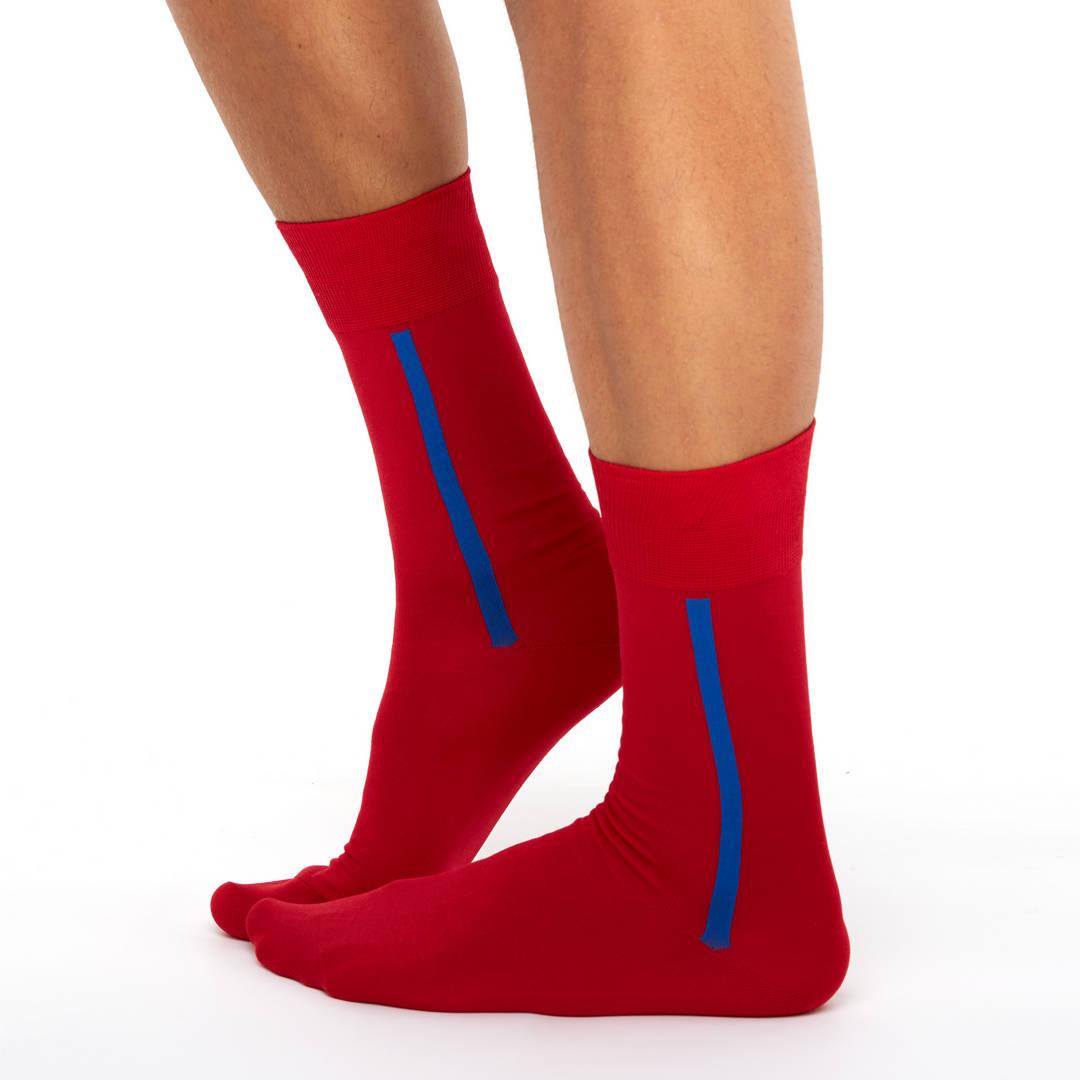 Men's mercerized cotton long socks red