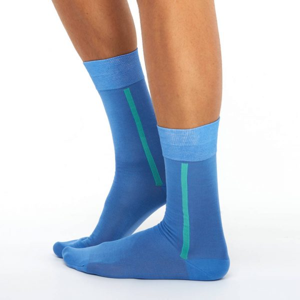 Men's mercerized cotton long socks light blue