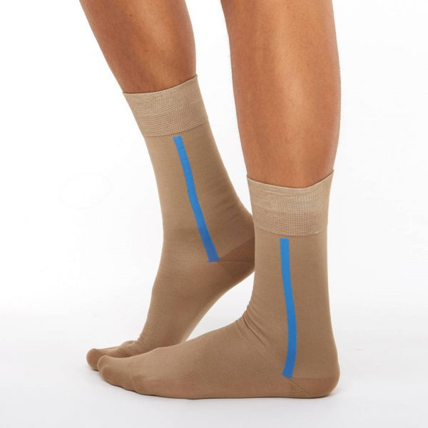 Men's mercerized cotton long socks light brown