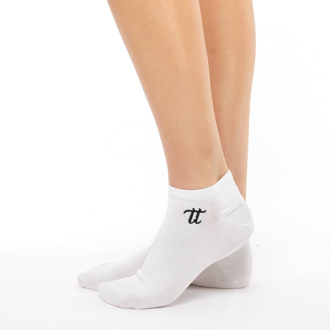 Women liner short cotton socks white