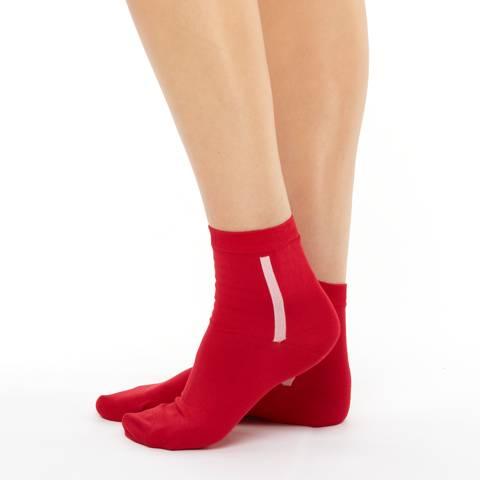 Women's mercerized cotton red short socks