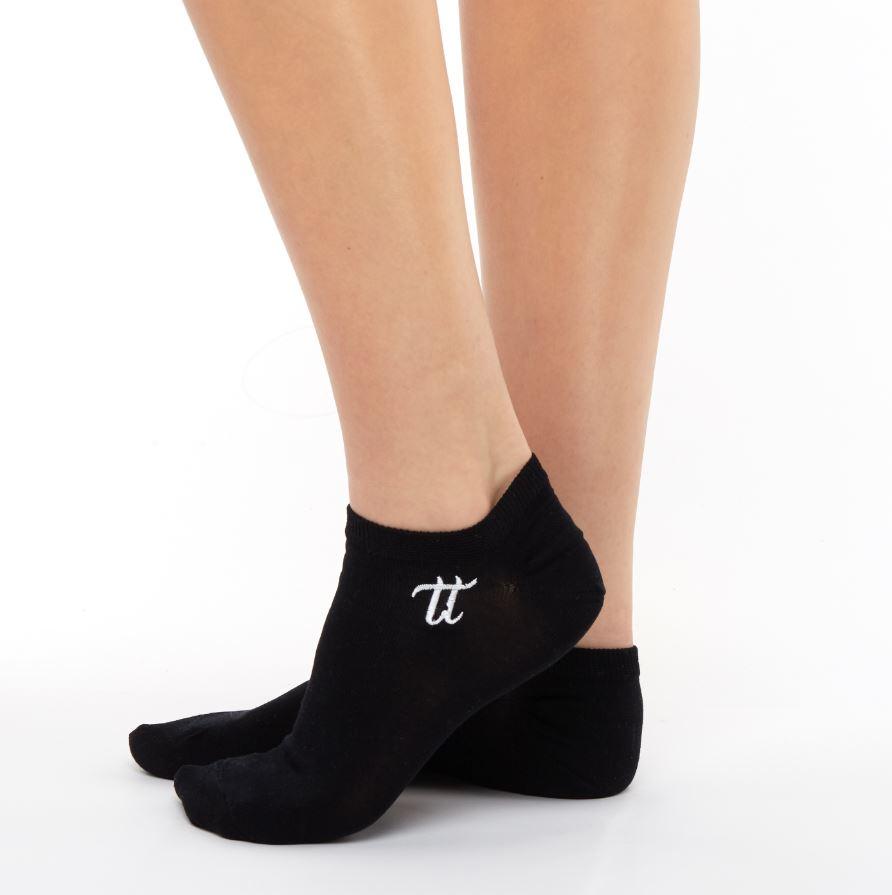 Women liner short cotton socks black