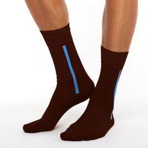 Men's mercerized cotton long socks brown