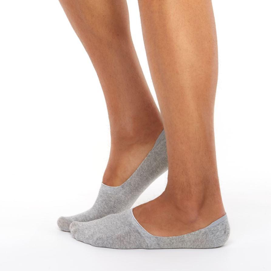 2 pairs invisible socks grey melange