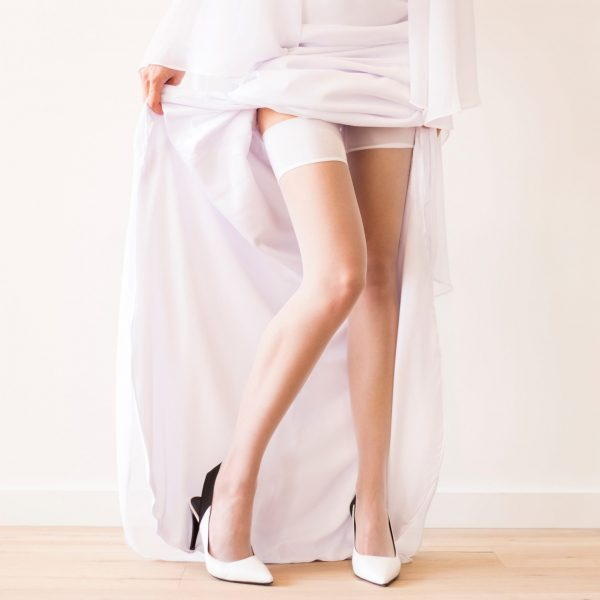 Wedding white stockings for the bride