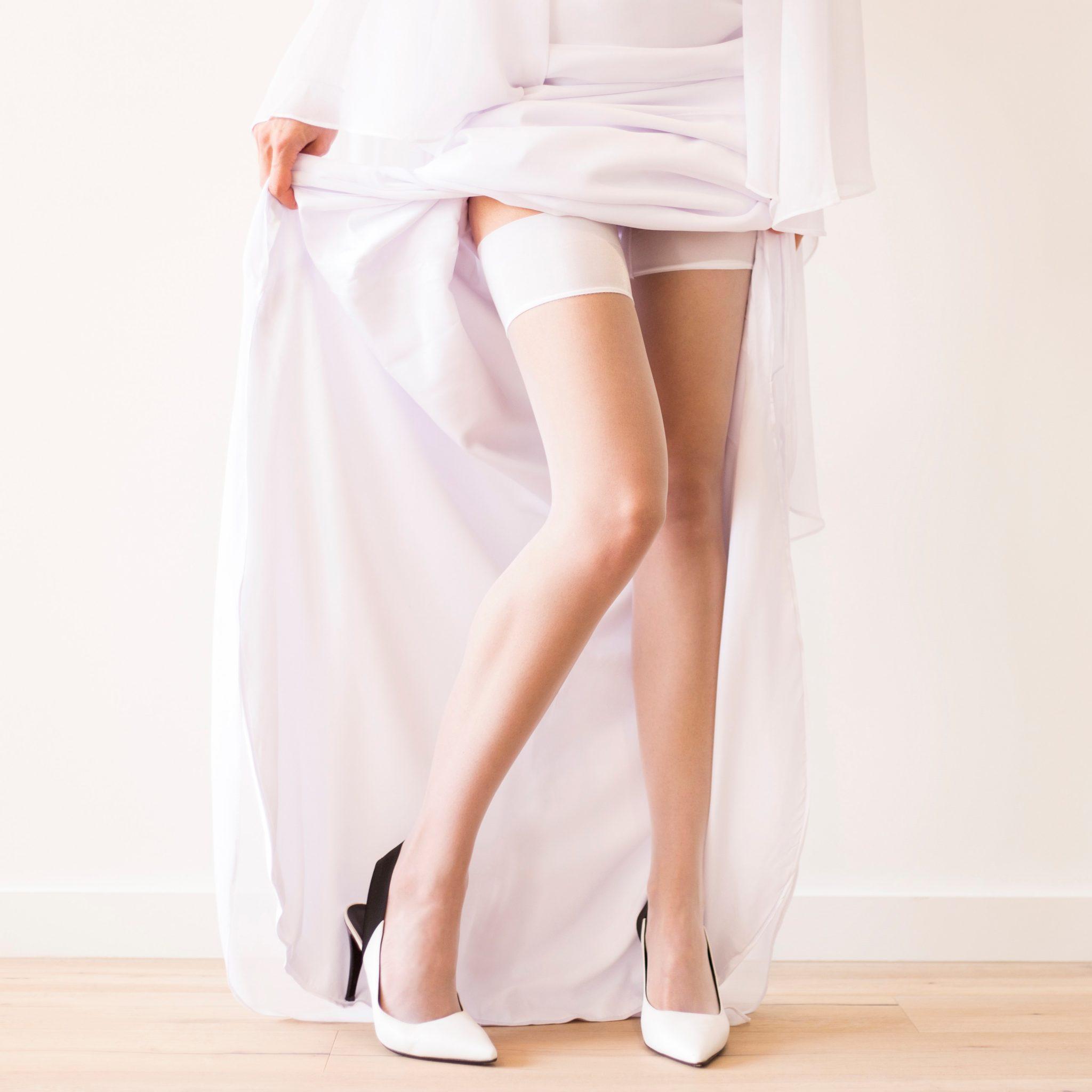Wedding white stockings for the bride