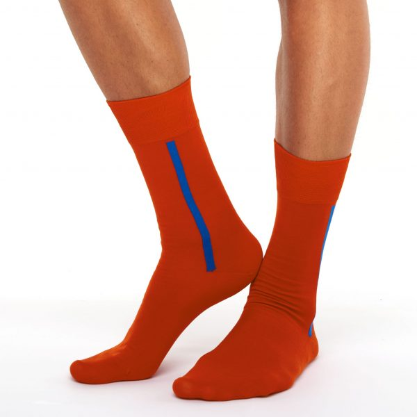Men's orange-red premium thin cotton socks