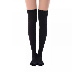 New soft cotton knee high socks - black color