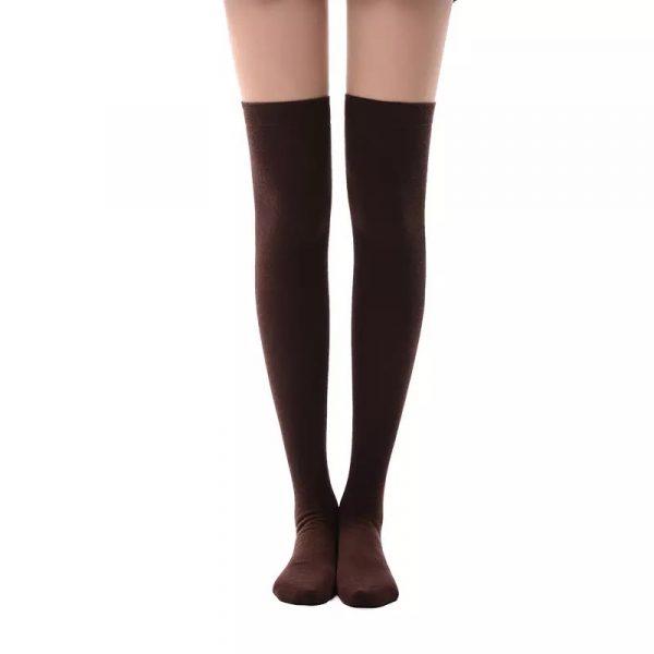 New soft cotton knee high socks - Chocolate color