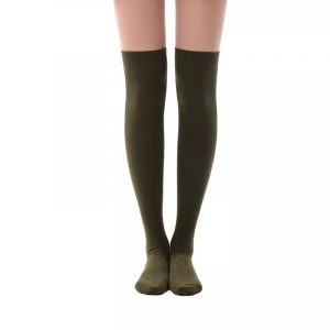 New soft cotton knee high socks - Deep olive color