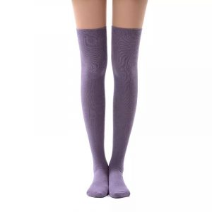 New soft cotton knee high socks - Grayish purple color