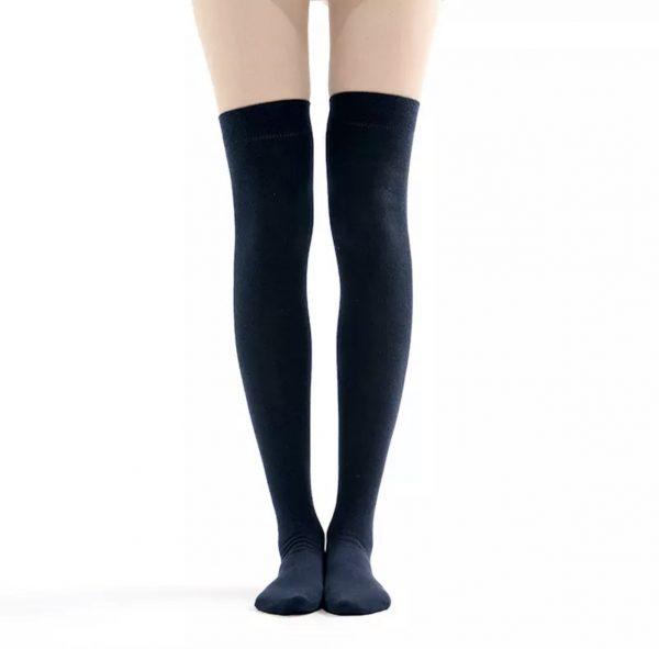 New soft cotton knee high socks - Navy blue color