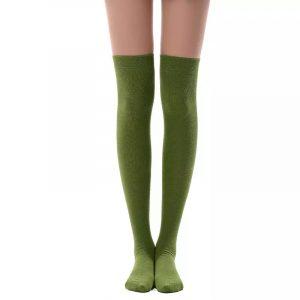New soft cotton knee high socks - Olive green color