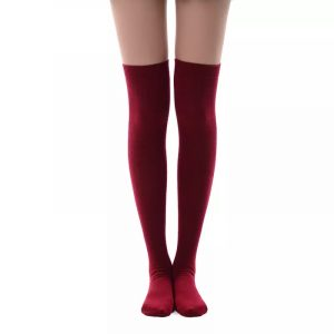 New soft cotton knee high socks - Wine red