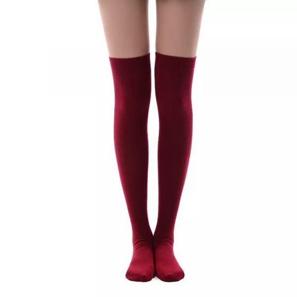 New soft cotton knee high socks - Wine red