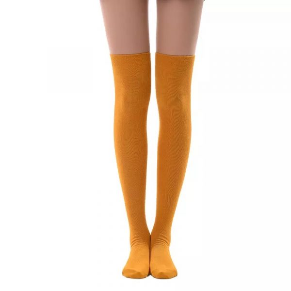 New soft cotton knee high socks - Yellow
