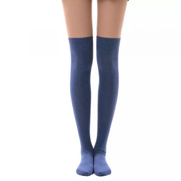 New soft cotton knee high socks - Jeans blue color